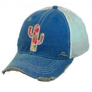 Wild Rose Destroyed Trucker Caps ~ Cactus Canyon,Hats - Dirt Road Divas Boutique