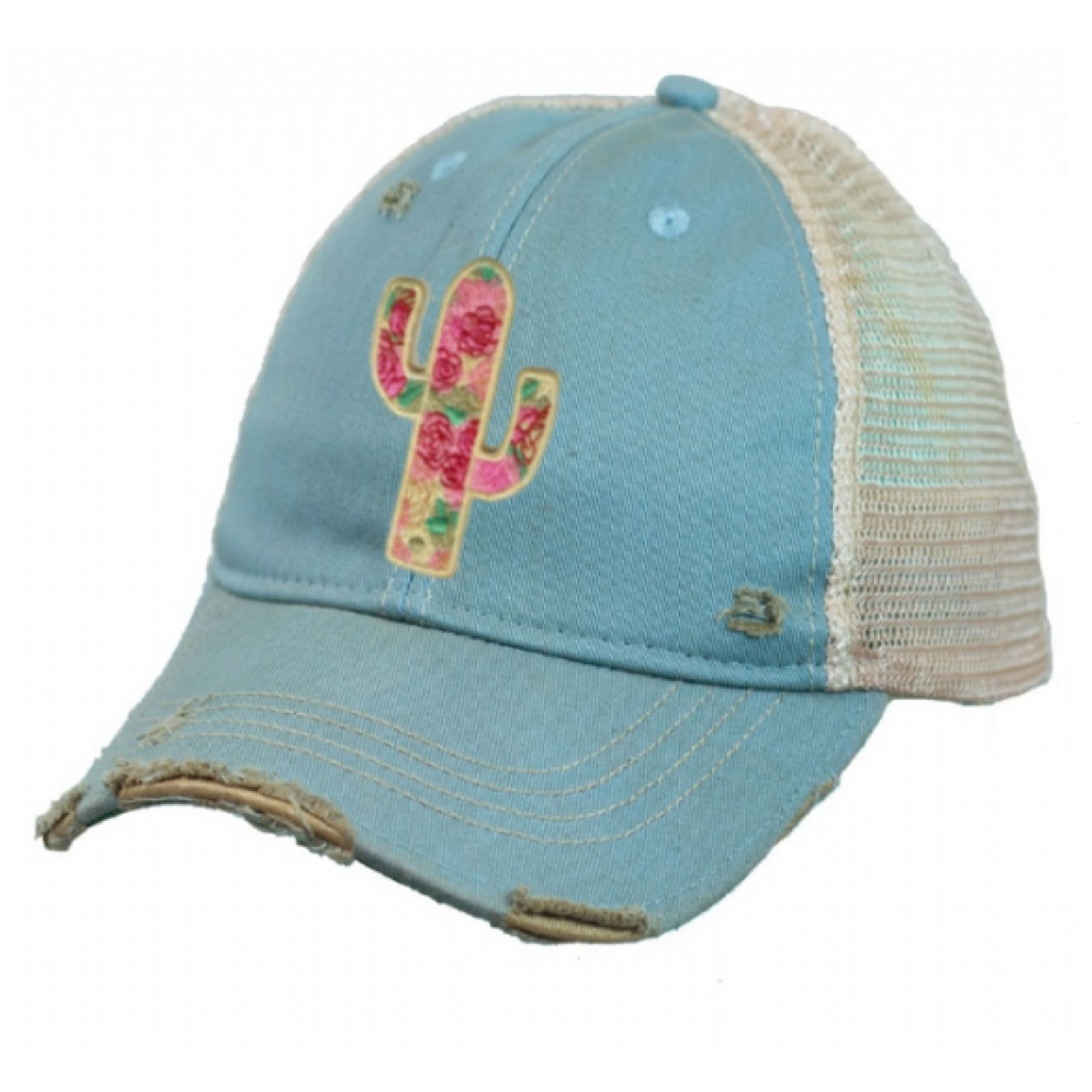 Wild Rose Destroyed Trucker Caps ~ Cactus Canyon - Sky - Hats