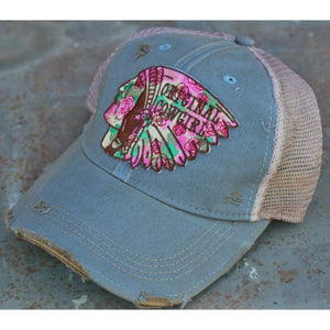 Wild Rose Destroyed Trucker Caps ~ Hail to the Chief,Hats - Dirt Road Divas Boutique