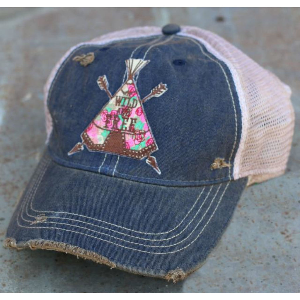 Wild Rose Destroyed Trucker Caps ~ Teepee - Navy - Hats