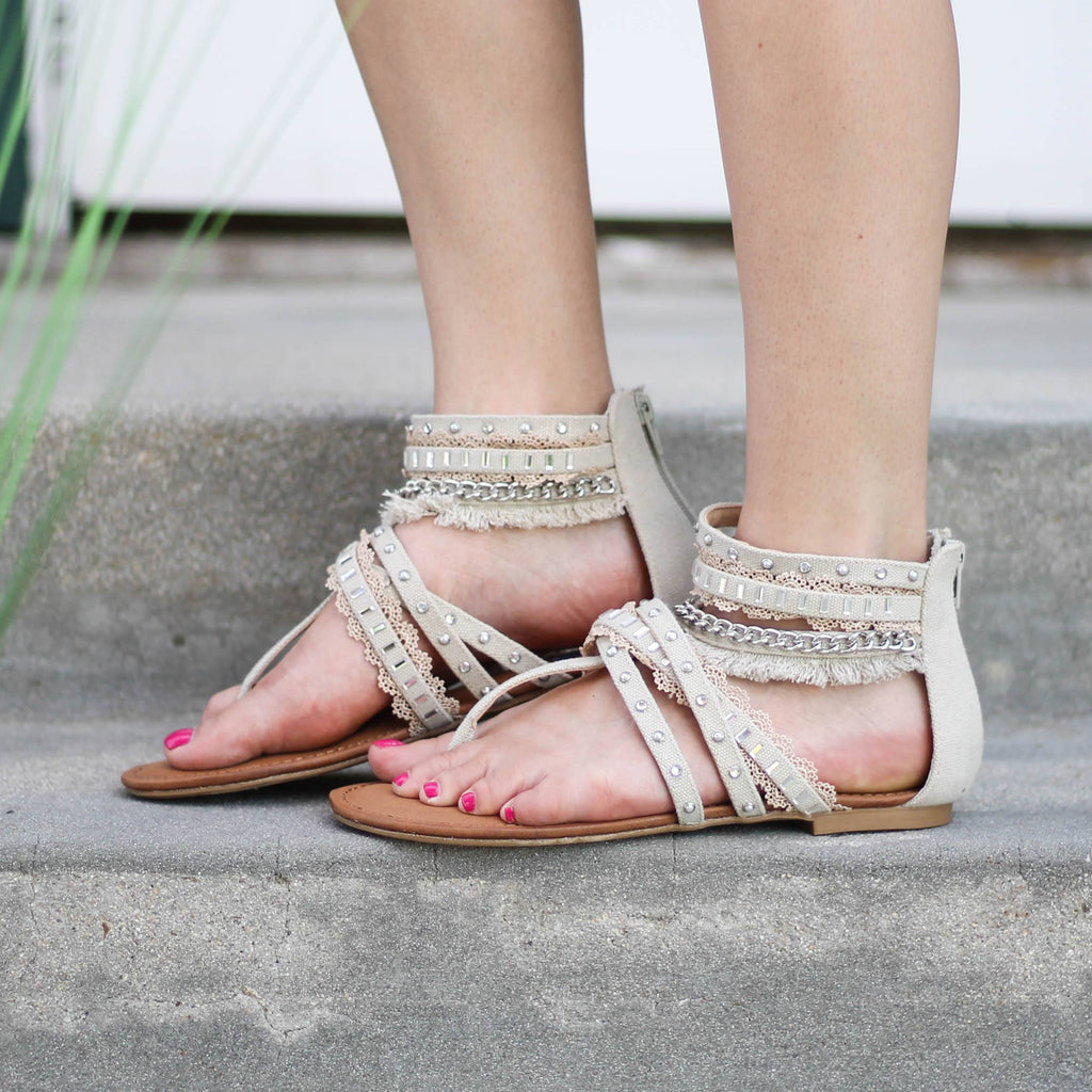 Not Rated Zara Sandals in Cream - Rural Haze