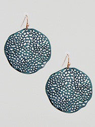 Patina cutout disc earring