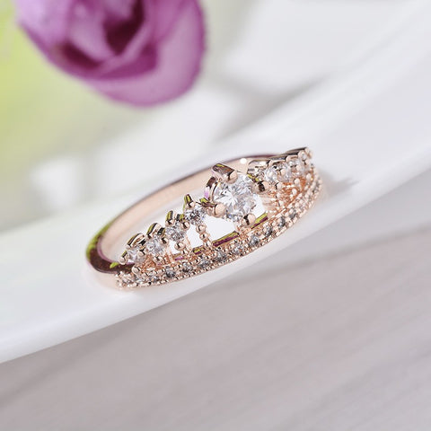 Rose Gold Crown Promise Ring