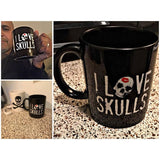 I Love Skulls Black 11oz Mug-Drinkware-Unlawful Threads