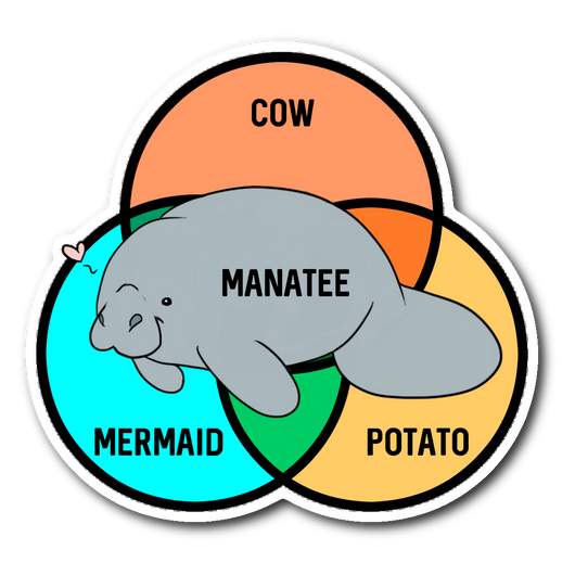 What even are manatees??? sticker 3x3-Stickers-Unlawful Threads