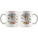 With a f#ck f#ck here 11 ounce mug. 11oz.