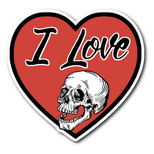 I Love Skulls Heart sticker 3x3