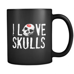 I Love Skulls Black 11oz Mug - Unlawful Threads