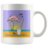 Rise and Shine Bitches Coffee Flamingo mug 11oz.-Drinkware-Unlawful Threads