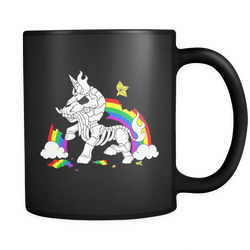 Unicorn Rainbow Death coffee mug black 11oz. - Unlawful Threads