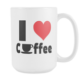 I Heart Coffee coffee mug white 15 oz. pin this/share it-Drinkware-Unlawful Threads