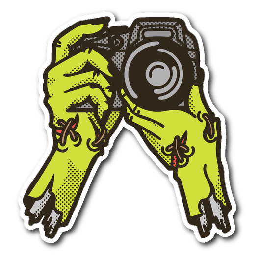 zombie photography sticker 3x3