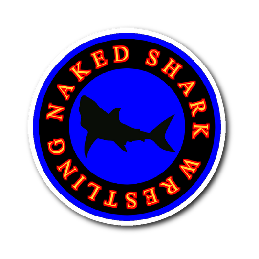 Naked Shark Wrestling sticker-Stickers-Unlawful Threads