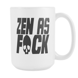 . Zen As F#ck coffee mug white (multi color letters) 15 oz.-Drinkware-Unlawful Threads
