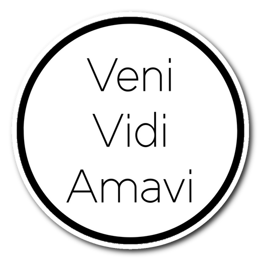 Veni Vidi Amavi >> I came, I saw, I loved << sticker 3x3 xoxox