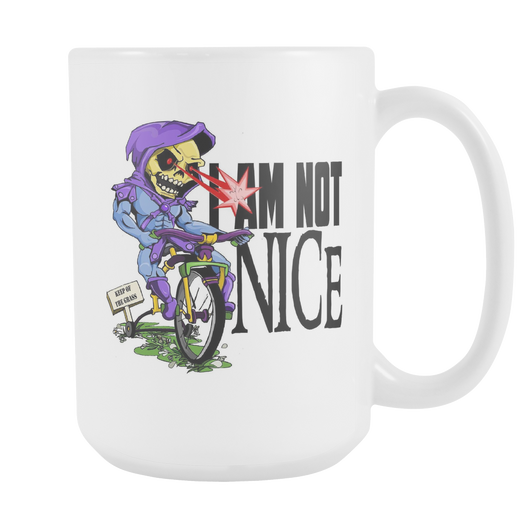 I AM NOT NICE SKELETOR MOTU white coffee mug 15oz. MYAAH-Drinkware-Unlawful Threads