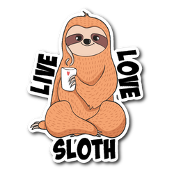 Live love Sloth sticker 3x4