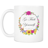GFY Birds N Flowers Full coffee mug 11oz-Drinkware-Unlawful Threads