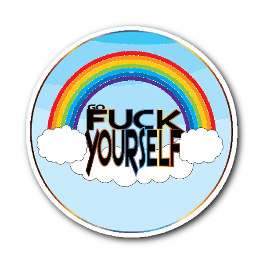 Go Fuck Yourself happy rainbow sticker