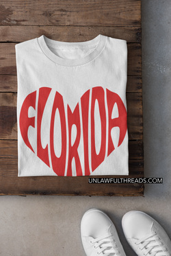 Florida Love Big Heart ~ 15 ounce mugs or classic cotton shirts