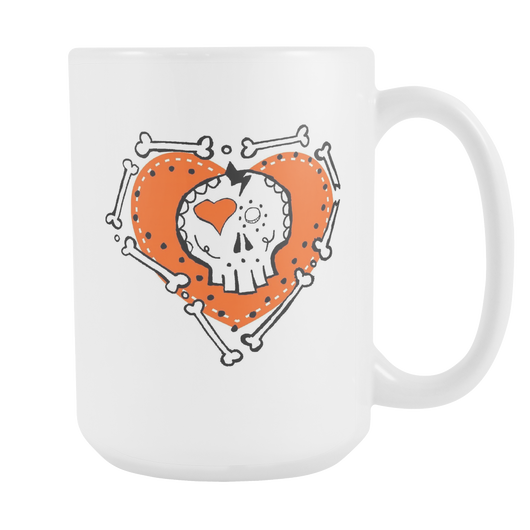 Skull Heart Loved to Death coffee mug 15 oz.-Drinkware-Unlawful Threads