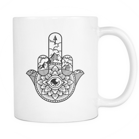 Zen Finger Evil Eye White 11oz. mug - Unlawful Threads