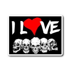 I Love Skulls sticker 3x4