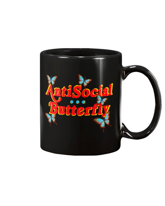 Antisocial Butterfly 15 ounce black mug