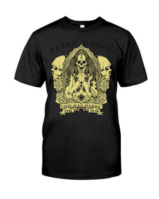 Black Widow Skull  >> Fruit of the Loom Cotton T >> up to 6xl