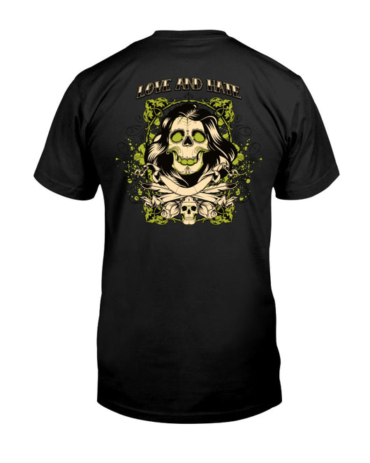 Love and Hate Skulls >> Fruit of the Loom Cotton T