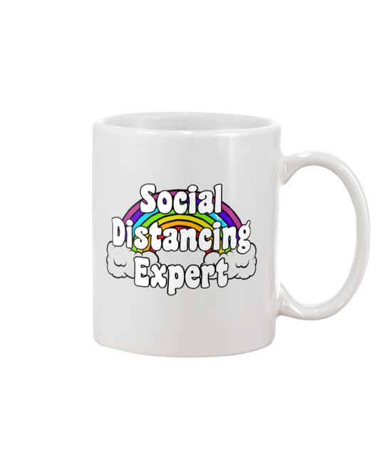 Social Distancing Expert rainbow coffee mug 15 oz.