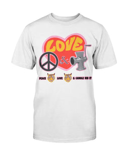 PEACE LOVE and CAROLE DID IT Gildan Cotton T-Shirt