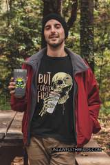 But First Coffee  Skull shirt mens/womens Cotton