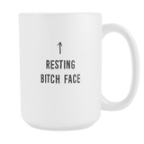 Resting Bitch Face coffee mug. Resting Bitch Face. 15 oz.-Drinkware-Unlawful Threads