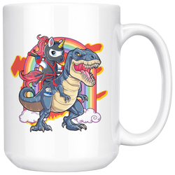 Trex Unicorn Ninja Rainbow mug 15 ounces