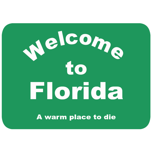 Welcome to Florida A warm place to die sticker 3x4-Stickers-Unlawful Threads
