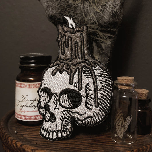 Skull with Candle Embroidered Patch - wholesale