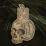 Skull Candle Yule Ornament