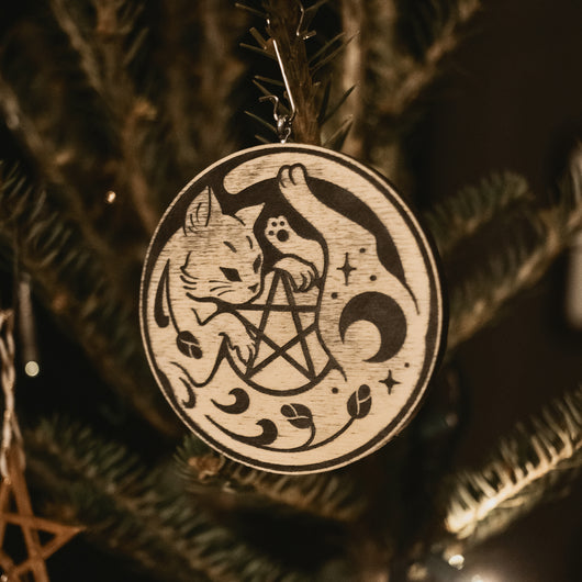 Night Creatures Yule Ornament - Witchy Cat