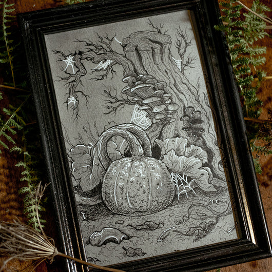 Witchy Garden Original Illustration - Framed