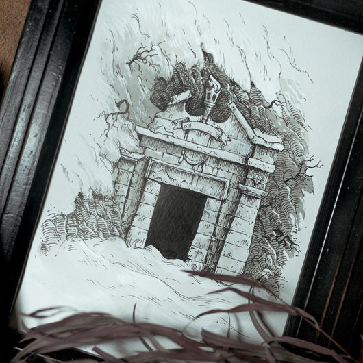 Cold Grave Original Illustration - Framed