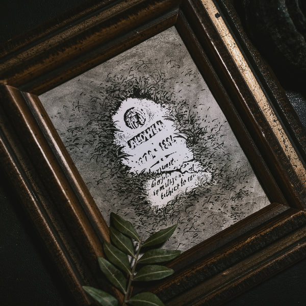 Cemetery Original Illustration - Framed
