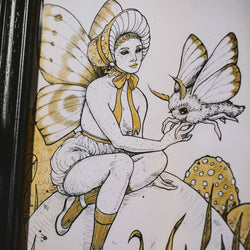 Mushroom Fairy Original Illustration - Framed