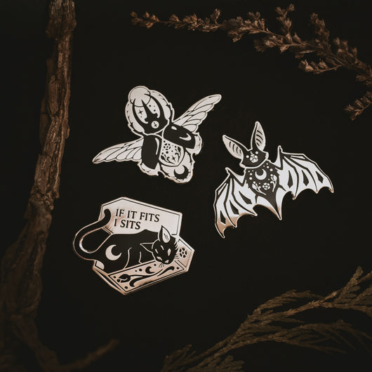 Night Creatures enamel pin collection