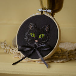 Green Eyed Cat Embroidery