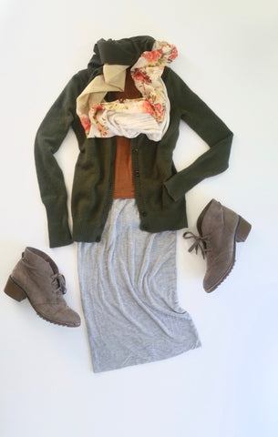 flat lay: orange, knit tee, green cardigan, gray, jersey knit midi skirt, beige booties, and Regenerous Designs floral scarf