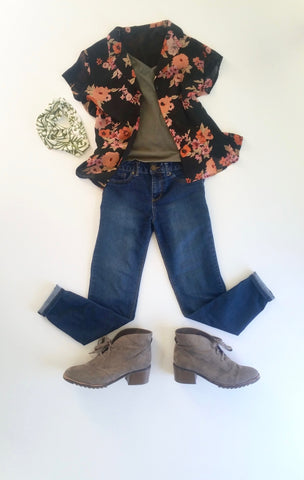 flat lay: green camisole, black and pink, floral, button up blouse, denim skinny jeans, beige booties, green Regenerous Designs headband