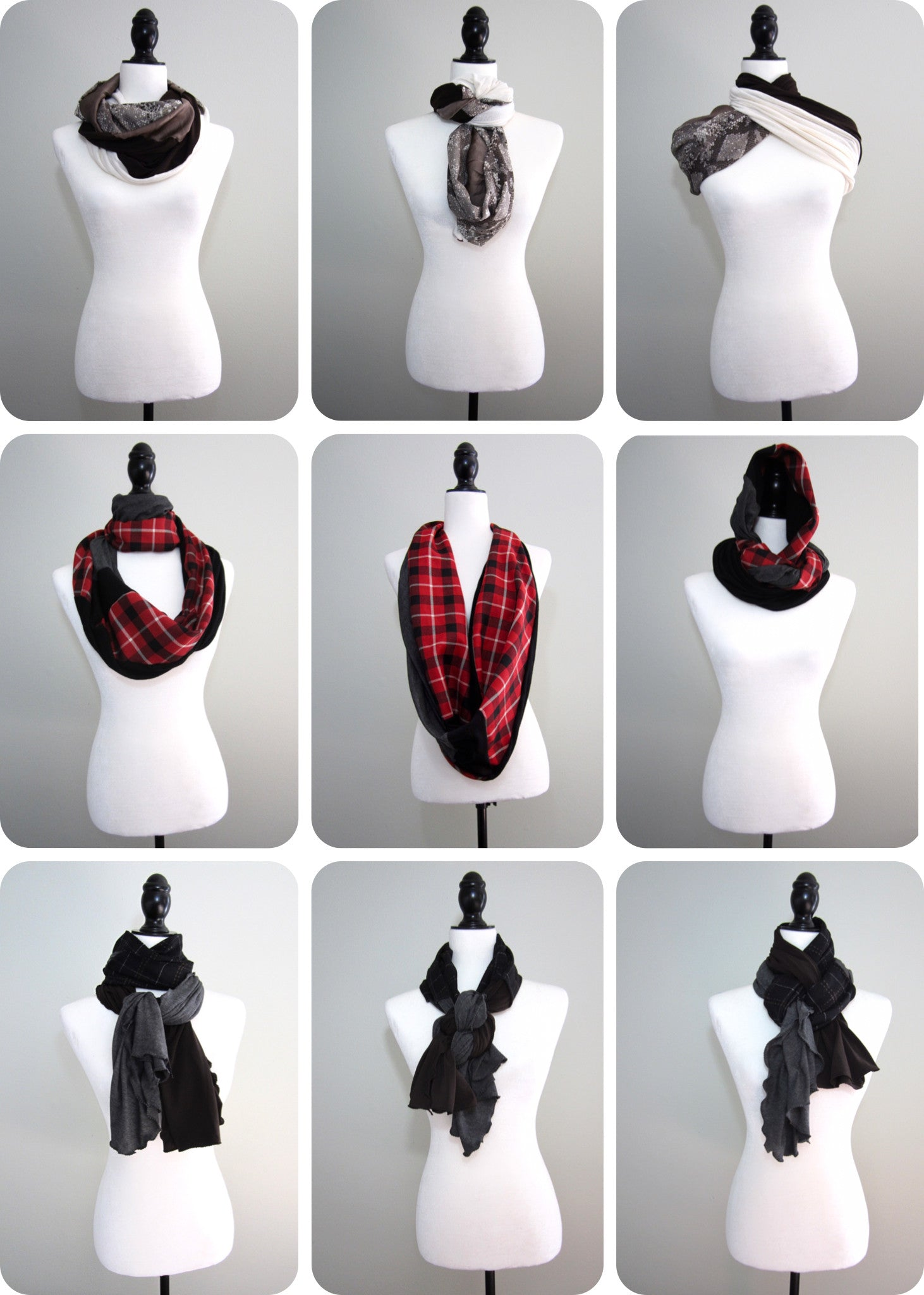 collage of different ways to wrap a scarf