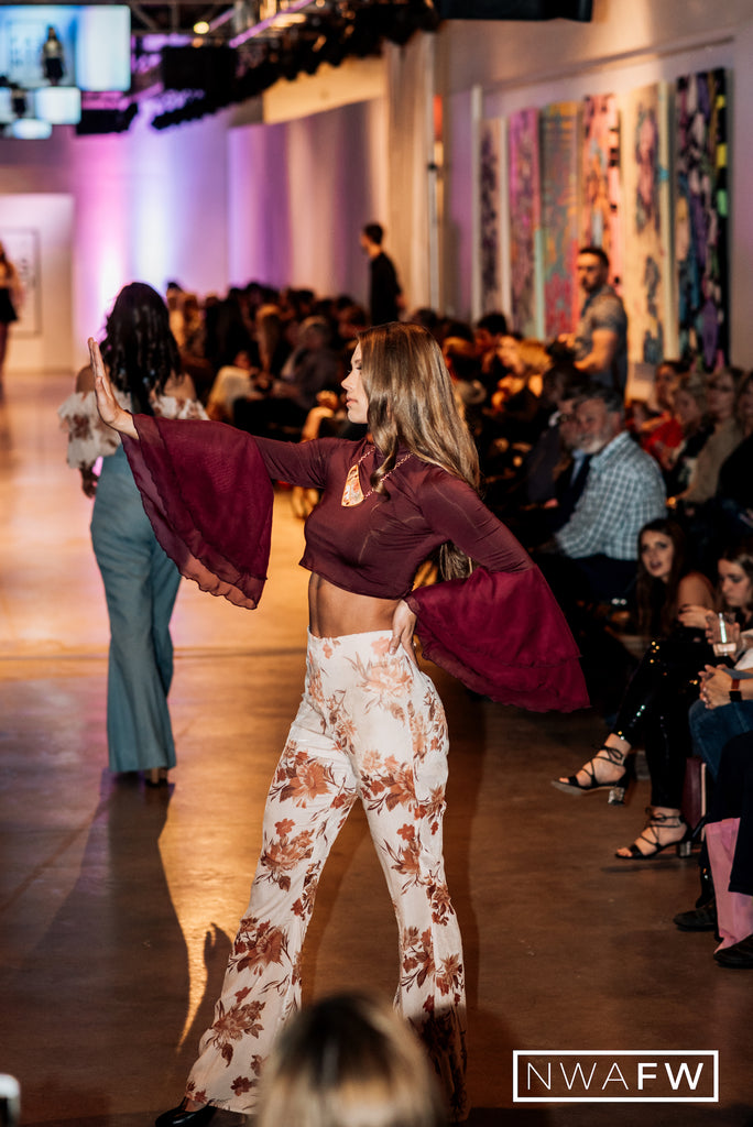 NWA Fashion Week Runway Show 70s Style Top and Floral Pants