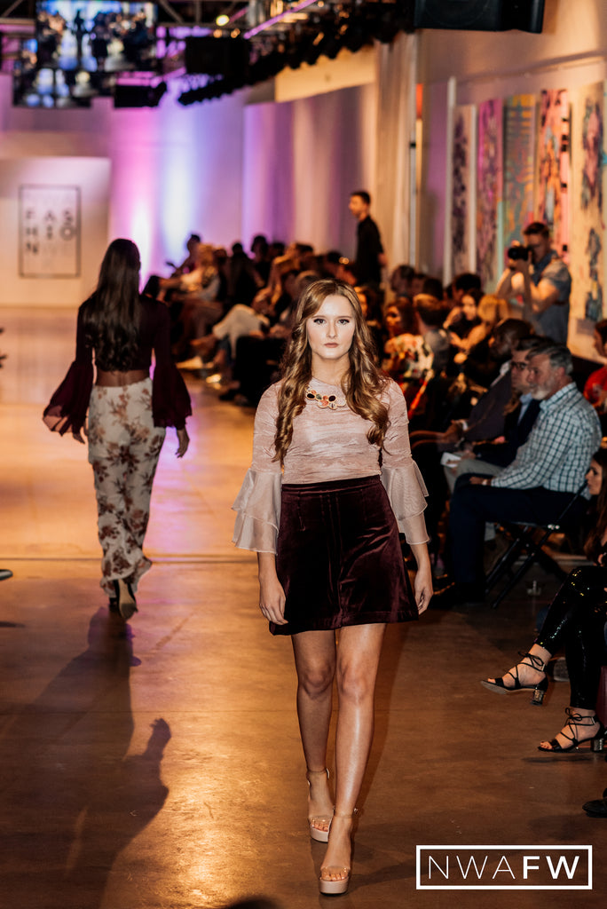 NWA Fashion Week Runway Show Frilly Top and Skirt